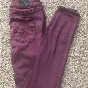 American Eagle maroon high rise jegging